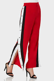 trendy high rise pants with button zip closure contrast stripe