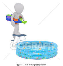 Cartoon Figure On Diving Board Above Kiddie Pool