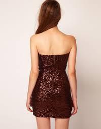 tfnc london bandeau sweetheart sequin dress in metallic lyst