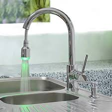 brass pull kitchen faucet with color changing led light
