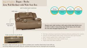 hogan contemporary mocha zero wall recliner w wide seat box