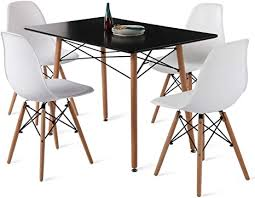 hj wedoo essgruppe mit esstisch und 4 essstühlen moderner rechteckig tisch mit 4 weiß skandinavisch stühle für esszimmer küche wohnzimmer