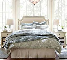Bed Skirt With Split Corners by Pleated Button Bed Skirt Pottery Barn