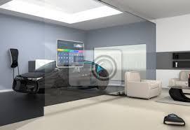 fototapete home automation panel auf der glaswand vom wohnzimmer