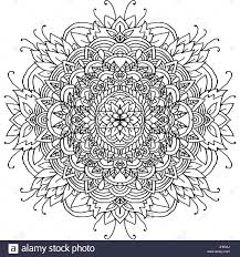 Abstract Mandala Ornament For Adult Coloring Books Asian Pattern Black And White Authentic Background
