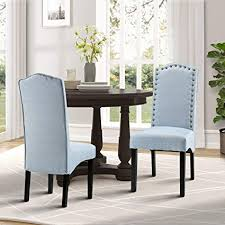 Merax Fabric Accent Chair Dining Room With Solid Wood Legs Set Of 2
