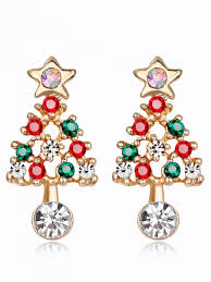 New Acrylic Rhinestone Hollow Out Christmas Tree Earrings