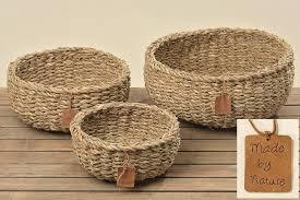 3 körbe runder korb seegras aufbewahrungskorb dekokorb natur braun rund körbchen