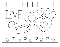Printable Valentine Cards For Kids Free Coloring Two Hearts Page