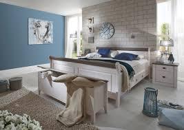 landhaus schlafzimmer massivholz weiß grau doppelbett 200x200 cm weiß grau