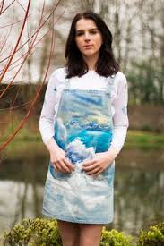 Hand Painted Clouds Apron Dungaree Dress