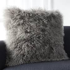 Mongolian Grey Fur Throw Pillow