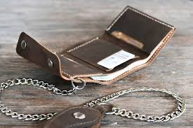 leather wallet chain handmade biker trifold original design
