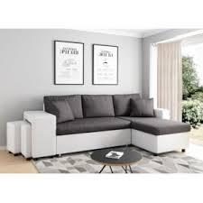canapé d angle pouf usinestreet canapé d angle convertible gris blanc avec coffre et