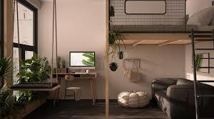 minimalistisches studio apartment mit etagenbett