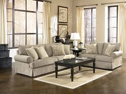 Living Room Gray Fabric Comfy Sofa Back Throughout Furniture Kansas
