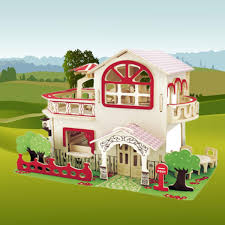 Dollhouse Miniature DIY Kit With Cover Wood Toy Handcraft Doll House