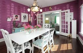 Purple Dining Room Offers A Sensational Backdrop For The Table And Chairs In White Photography
