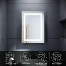 sonni spiegelschrank mit led beleuchtung badspiegel badschrank edelstahl badezimmer schrank steckdose beschlagfrei kippschalter schiebetür 50x70cm