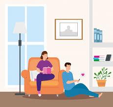 junges paar das buch im wohnzimmer liest kostenlose vektor