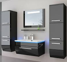 details zu badmöbel set schwarz komplett hochglanz badezimmermöbel 6teilige led schwarz 70