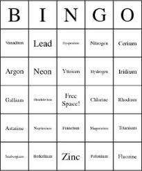 Cycle 3 SCIENCE Periodic Table Of Elements Bingo Cardsyou Could Call