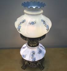 Fenton Blue Fairy Lamp by Vintage Lamp Hurricane Gone W Wind Midnight Blue Floral Large 27