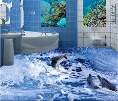 chambre dauphin personnalisé mural 3d photo plancher en pvc auto adhésif papier