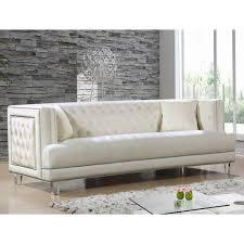 meridian furniture 609cream s lucas cream tufted velvet sofa w
