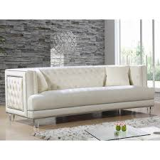 Tufted Velvet Sofa Bed by Meridian Furniture 609cream S Lucas Cream Tufted Velvet Sofa W