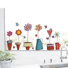 2 pcs plante en pot de fleur fenêtre dessin à la