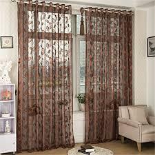 lianle vorhang gardine transparent blätter druck ösen schlaufenschal wohnzimmer schlafzimmer deko m 100 250cm braun