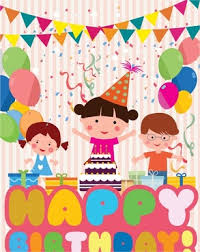 Birthday Decoration Template With Colored Cute Design
