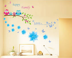 Wall Mural Decals Flowers by Dago Owl And Flowers Happy Family Wall Stickers U0026 Murals Wall