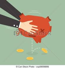 Businessman Taking Money Out Piggy Bank Vector