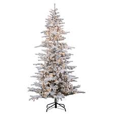 75ft Pre Lit Artificial Christmas Tree Full Flocked Cambridge Fir