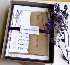 Beautiful Unique Purple Rustic Wedding Invitations Matched With Sweet Ribbon And Artistic Brown Envelope In Box
