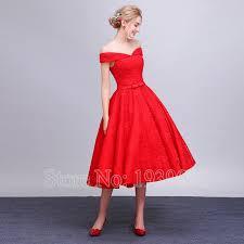 Vintage Lace Red Wedding Dresses 2016 Off The Shoulder Tea Length Short Bridal Gowns For Summer