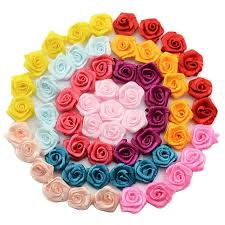 480 Pcs 15mm Satin Rose Ribbon Rosettes Fabric Flower DIY Handmade Wedding Decor Appliques Craft Sewing