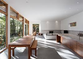 Cute Architecture Minimalist Wooden Residence Interior By Tact And Open Plan Among Living Room Dining Kitchen