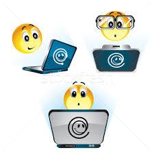 smiley bureau smileys travail ordinateur école illustration vectorielle