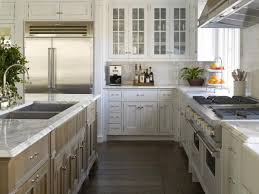 KitchenExcellent Kitchen Design With L Shape White Cabinet And Square Double