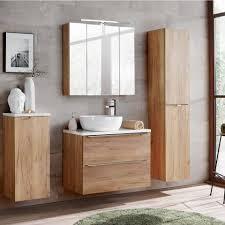 lomadox badmöbel set toskana 56 spar set 7 tlg badezimmermöbel mit wäscheschrank wotaneiche weiß hochglanz bxhxt ca 190 190 46cm