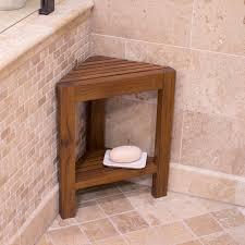 Teak Bathroom Corner Shelves by Belham Living Corner Teak Shower Bench With Shelf Hayneedle