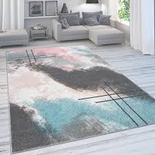 designer teppich für wohnzimmer pastellfarben farbverläufe abstrakt in rosa