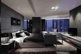 Master Bedroom Images Ideas Dark Grey Wallpaint Plain White Long Sofa Wooden Bedside Table Elegant Brick Wall Comfy Furry Rug
