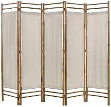 vidaxl raumteiler faltbar 5 tlg paravent trennwand spanische wand raumtrenner umkleide sichtschutz wohnzimmer bambus leinwand 200cm