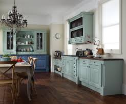 KitchenRustic Blue Kitchen Idea With Small Dining Area And Wooden Floor Modern