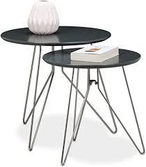 relaxdays beistelltisch 2er set wohnzimmertische aus holz mit grau matt lackierten tischplatten im durchmesser 48 und 40 cm als couchtisch und