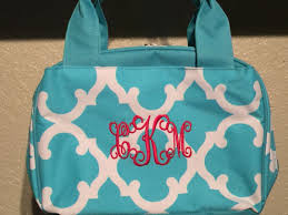Quatrefoil Print Monogrammed Lunch Box Turquoise Blue And